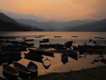 Sunset in Pokhara Stock Image