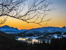 Sunset on the Polar Circle Stock Photos