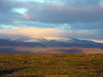 Sunset in Polar Ural Stock Photos