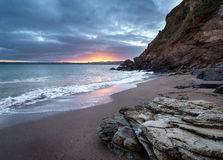 Sunset at Polkerris Beach. Near St Austell on the south coast of Cornwall Royalty Free Stock Images