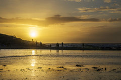 Sunset at polzeath beach, Cornwall, UK Royalty Free Stock Image