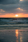 Sunset at Polzeath, North Cornwall. Sunset over Polzeath beach North Cornwall Royalty Free Stock Photography