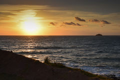 Sunset at Polzeath, North Cornwall. Sunset over Polzeath beach North Cornwall Stock Photography