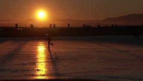 Sunset Pond Hockey, Garry Point, Richmond, BC. 4K. UHD stock footage