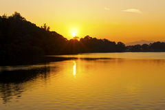 Sunset pond in Hong Kong Royalty Free Stock Images