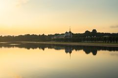 Sunset on the pond of museum-estate Kuskovo, Moscow. Stock Images