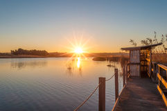 Sunset at the pond in sardinia. Beautiful sunset at the pond of platamona in winter Stock Image