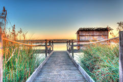 Sunset at the pond in sardinia. Beautiful sunset at the pond of platamona in winter Stock Photography