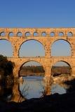 Sunset at Pont du Gard in Provence, Royalty Free Stock Image