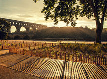 Sunset at Pont du Gard Stock Images