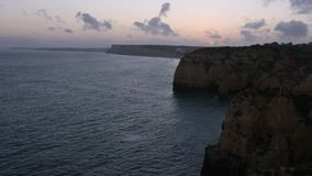 Sunset Ponta da Piedade Coast Algarve, Portugal. stock footage