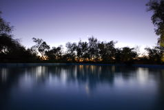 Sunset pool. A pool with trees as background at sunset Stock Photography