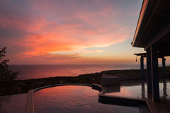 Sunset and pool Royalty Free Stock Images