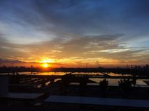 Sunset at pool plumbing. In Bangkok Stock Photo