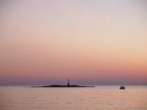 Sunset in Porec, Croatia. Beautiful summer sunset scene in Porec, Croatia Royalty Free Stock Photos