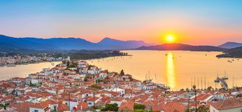 Sunset in Greece, Poros Stock Photos