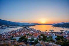Sunset on Poros island in Aegean sea, Greece. Beautiful Sunset on Poros island in Aegean sea, Greece stock image