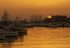 Sunset in port. Of Santa Pola, Alicante Stock Photos