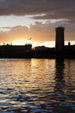 Sunset on the port Royalty Free Stock Photo