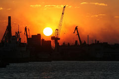 Sunset in port Royalty Free Stock Image