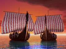 Sunset Port. Viking ships in port at sunset Royalty Free Stock Photos