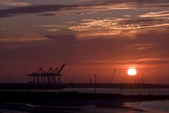 Sunset in a port Stock Image