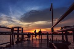 Sunset  at  port of Bangkok  near riverside with  people Royalty Free Stock Images
