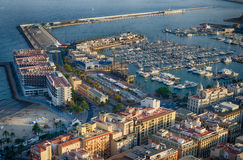 Sunset port and beach of Alicante, Spain Stock Images