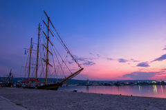 Sunset in port Stock Image