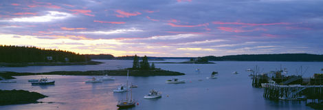 Sunset at Port Clyde. Lobster village harbor, Maine Stock Photo