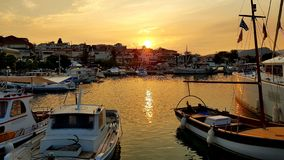 Sunset, Port Ermioni, Greece royalty free stock images