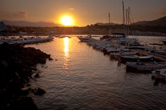 Sunset in port of Giardini Naxos, Sicily Royalty Free Stock Photography