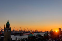 Sunset in the port of Hamburg Stock Photo