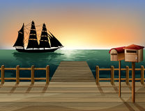 A sunset at the port. Illustration of a sunset at the port Royalty Free Stock Images
