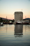 Sunset in the port of Mali Ston. In Dalmatia, Croatia Stock Photos