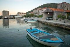 Sunset in the port of Mali Ston. In Dalmatia, Croatia Royalty Free Stock Photography