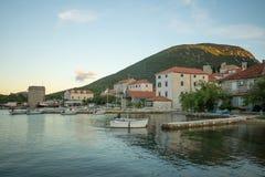 Sunset in the port of Mali Ston. In Dalmatia, Croatia Royalty Free Stock Image