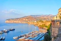 Sunset at Port of Marina Grande in Sorrento. Tyrrhenian sea, Amalfi coast, Italy Stock Photo
