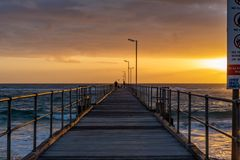 A sunset from on the Port Noarlunga Jetty in Port Noarlunga South Australia on 12th September 2018 royalty free stock images