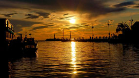 Sunset on a port Riviera Stock Photography