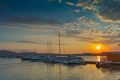 Sunset at the port of Sozopol town Stock Image
