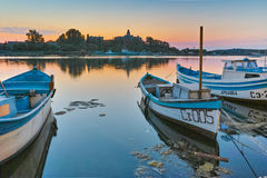 Sunset at the port of Sozopol town Royalty Free Stock Image