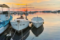 Sunset at the port of Sozopol town Royalty Free Stock Photo