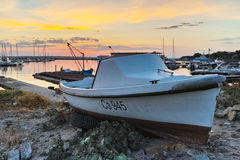 Sunset at the port of Sozopol town Royalty Free Stock Photography