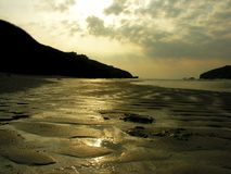 Sunset on Porth Beach, Cornwall Stock Image
