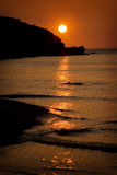 Sunset at Porth Beach, Cornwall, England Stock Photo