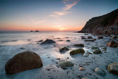 Sunset at Porth Nanven Beach Stock Image