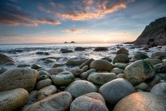 Sunset at Porth Nanven Royalty Free Stock Photography