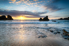 Sunset at Porthcothan Beach Stock Photography