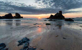 Sunset at Porthcothan Stock Image